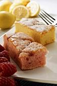 Raspberry slice and lemon slice