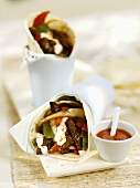 Fajita with beef and peppers