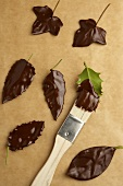 Making chocolate leaves (painting leaves with chocolate)