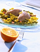 Partridge on a bed of savoy cabbage