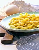 Spaetzle noodles on a plate
