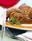 Beef roulades with red wine sauce