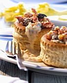 Puff pastry shells with crab ragout and morels