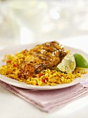 Tequila lime chicken on vegetable rice