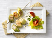 Skewered leeks with mince stuffing