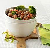 Cooked beans and broccoli