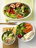 Three vegetable platters