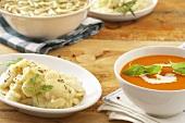 Potato salad and tomato soup