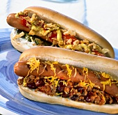 Texas chili dog and hot dog