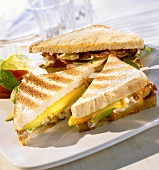 Toasted cheese sandwich and BLT sandwich