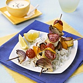 Scallop and vegetable kebabs