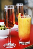Pink champagne and Campari Orange