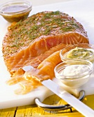 Marinated salmon with three sauces