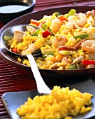 Nasi goreng with chicken, shrimps and ham