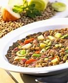 Lentil soup with ham and vegetables