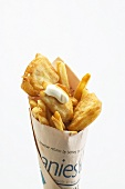 Fish and chips in English newspaper