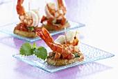 Potato and shrimp appetisers