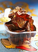 Beetroot crisps with dip