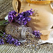 Flowering and dried lavender