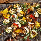 Vegetable kebabs on the barbecue