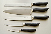 A set of kitchen knives