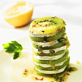 Spicy kiwi fruit and soft cheese tower