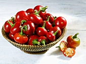 Basket of red cherry chillies
