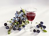 A glass of sloe liqueur and sloes