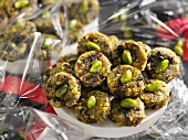 Prune and pistachio biscuits