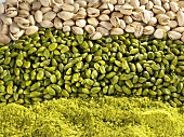 Pistachios: chopped, shelled and unshelled