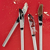 Four used knives