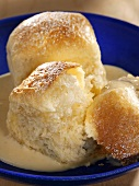 Rohrnudeln (baked yeast cakes, Bavaria) with custard