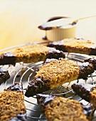 Nut triangles on a cake rack