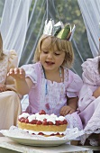 Birthday Princess with strawberry gateau