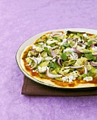 Vegetarian pizza with ricotta and oregano