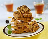 Fruit loaf, sliced