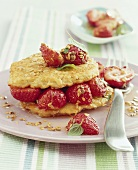 Buttermilk oat pancake with strawberries