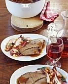 Shoulder of beef in red wine