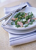 Spinach gnocchi with smoked salmon and rocket