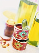 Tinned tomato paste and olive oil