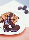 Monte bianco (Chestnut puree with cream & chocolate sauce)