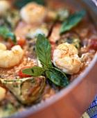 Tomato and artichoke risotto with langostinos
