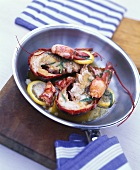 Lobster fried in butter with lemon and tarragon