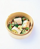 Steamed cod fillet with lime and Thai chives