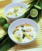 Coconut soup with shrimps, straw mushrooms and coriander