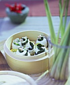 Sole rolls with lemon grass and salad burnet