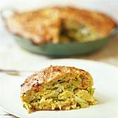A slice of savoy cabbage pie