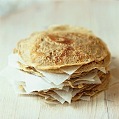 A pile of buckwheat pancakes