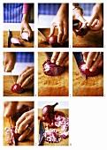 Zwiebeln in kleine Würfel schneiden