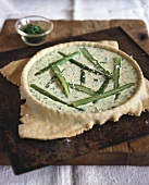 Asparagus quiche in the dish